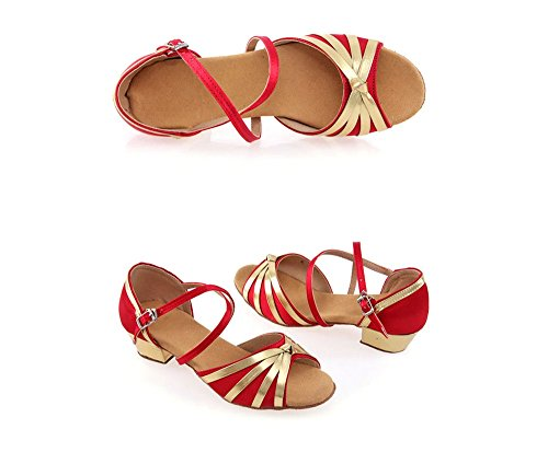 TMKOO& Femme fille filles chaussures de danse Ballroom chaussures latine ( Color : Rouge , Taille : 40 ) Rouge