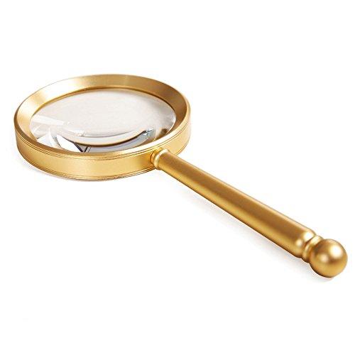 Bai Su Portable handheld Lupe Metall Griff goldene 8X / 10X HD alter Mann lesen/Reparatur Uhr/Identifizierung von kulturellen Reliquien (größe : 200 X103 X85mm)