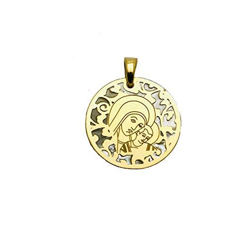 Medalla Virgen del Camino Neocatecumenal en Plata de Ley Cubierta de Oro de 18kt y nácar