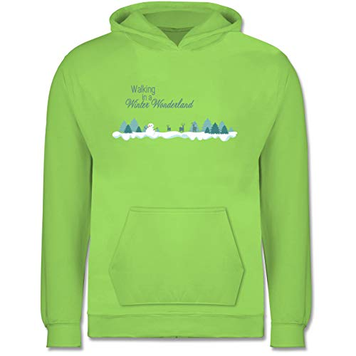 Weihnachten Kind - Walking in a Winter Wonderland Schnee - 9-11 Jahre (140) - Limonengrün - JH001K - Kinder Hoodie Wonderland Kinder Hoodie