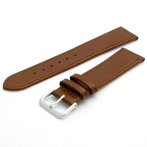 comfortable-flexible-leather-watch-strap-band-buffalo-grain-20mm-width-brown-with-chrome-silver-colo