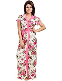 Shopping Station Women's Pink Night Floral Printed Robe (Free Size_Multicolor)