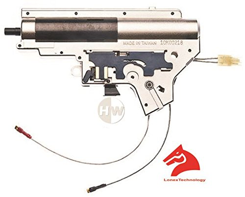 LONEX Airsoft Completo de 8mm Caja de Cambios MP5V2Version 2DE Cromo Chapado en ASG Trasero con Cable