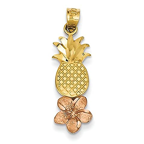 14ct Yellow and Rose Gold Pineapple With Plumeria Pendant