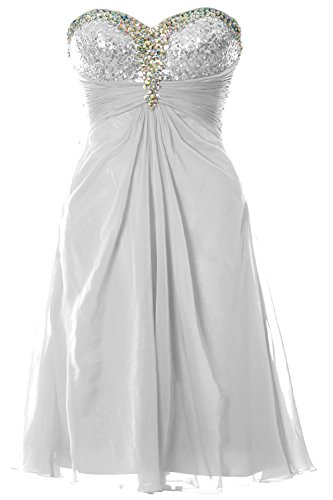 MACloth Women Strapless Sweetheart Crystal Short Prom Dress Formal Party Gown white