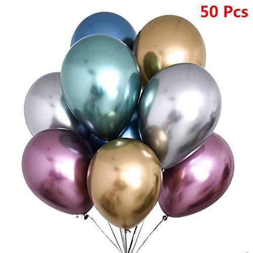 50 Stück Luftballons Metallic,Bunt Verchromte Ballons in 6 Metallischen Farben Metallfarbe Dekoration für Jugendweihe Mädchen Junge Geburtstag JGA Hen Party (Gold Silber Blau Grün Rosa Lila)