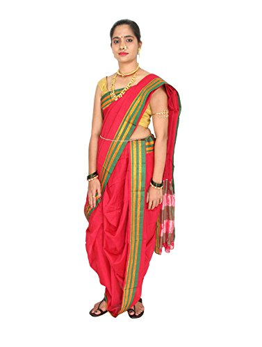 Women's Cottage Solid Readymade Nauvari Cotton Saree Free Size_RDNVSR Bottle Green For...