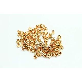 100 X 3mm Ösen für Bekleidung und Leder Handarbeiten - Ösen für Hinzufügen Schleifen, Schnürung und Stoff in Kunst und Nähen Projekte - Ideal für Beutel, Scrapbooking, und Kleidung Reparatur - Gold