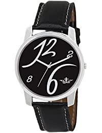 Styllent Round Dial Analogue Black Dial Black Leather Strape Fashion Wrist Watch For Men & Boys