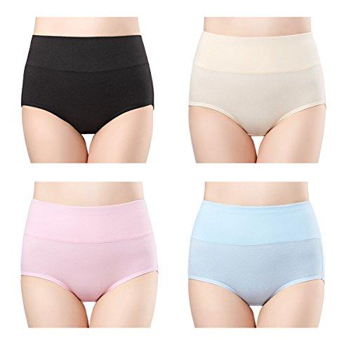 Wirarpa Damen Unterhosen Baumwolle 4er Pack Slips Damen mit Hoher Taille Atmungsaktive Taillenslip TOLLE QUALITÄT M 40-42