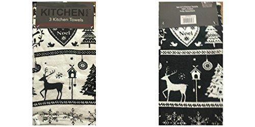 Küche Plus Noel Weihnachten 100% Baumwolle Küche Geschirrtücher, schwarz, 3Stück