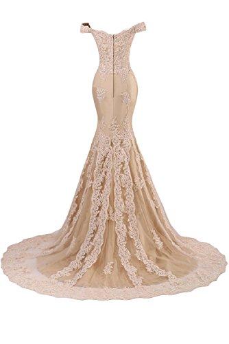 Sunvary Robe Longue Robe de Soiree Robe de Mriage Sirene Elegante en Dentelle Epaule degagee Fermeture eclair Traine mi-longue Lavande