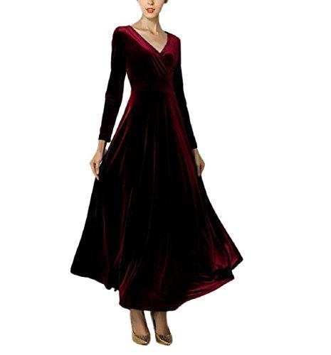 Rcool Frauen heißen Samtkleid Plus Größe Winter Knöchel Maxi Tuniken lässig Roben Fashion V-Ausschnitt Rock (XL, (Kostüm Controller Xbox)