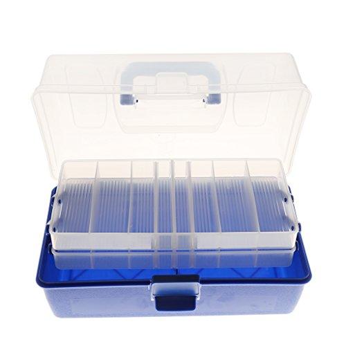 3 Schichten Kunststoff Angelgerät Box für Haken Köder Fischenködergerät Angelkoffer Angelbox Angelset Angelzubehör Box