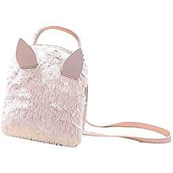 Bolsos Mochilas Mujer Casual de Peluche Lindo Bolsos Paquete Pequeño de Señoras Chicas y Niñas para Diario y Viaje Messenger Bag Backpack de Ocio para Estudiantes de Moda (Rosa)