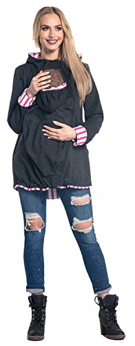 Happy Mama. Damen Sweatshirt Kängurutasche Langarm Still-Kapuzenpullover. 495p Graphit Melange