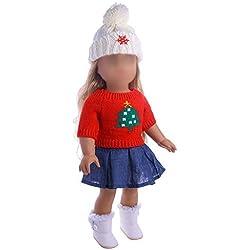 Beetest Vetement Poupee Corolle 3 pcs Arbre De Noël Motif Chandail Jupe Robe pour 18 Pouce Fille Américaine Notre Génération Ma Vie Poupée Costume Costume Vêtements Set Poupée Accessoires