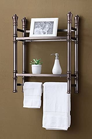 Best Living Monaco Wall Mount/Countertop Etagere Shelf, Brushed Titanium