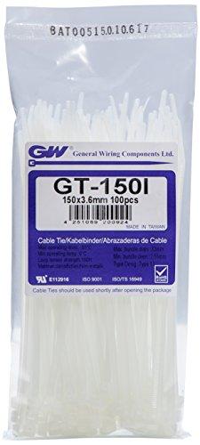 GW Kabelbinder-Technik, Kabelbinder 150 x 3,6 mm, natur, 100 Stück, GT-150IC