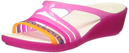Crocs Isabella Mini Wedge W Ptpk/Cpk, Pantofole Donna Rosa (Party Pink/Candy Pink)