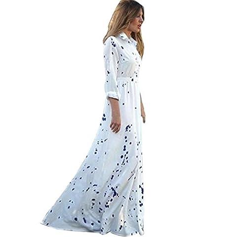 Printemps et en automne Femme Rétro Imprimé Manches longues Bohême Longue Robe par Reaso (M, Blanc)