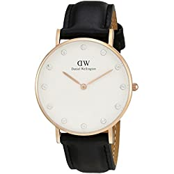 Daniel Wellington Women's Quartz Watch with White Dial Analogue Display and Black Leather Strap 0951DW