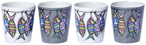 Fox Trot 9070POIS Set de 4 Gobelets à Café Motif Poisson Porcelaine 6,7 cm