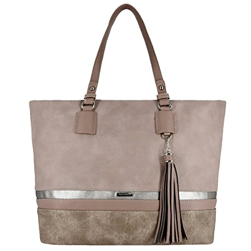 Bag Top Handle (David Jones - Damen Large Size Tote Henkeltasche - Lange Henkel Frauen Schultertasche - Streifen Multicolor Top-Handle Bag - Shopper Aktentasche Schultasche - Waterproof Canvas - Pink)