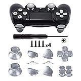 TOMSIN Metallknöpfe für DualShock 4, Aluminium Metall Daumensticks Analoggriff & Bullet-Tasten & D-Pad & L1 R1 L2 R2 Trigger für PS4 Controller Gen 1 Silber Silber