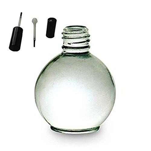 Aromathérapie Bouteille en verre (vide) 75 ml, avec couvercle Noir et brosse en forme de balle, vendu en lot de 5 pièces.