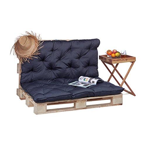 Relaxdays 10023472_111 cuscino per pallet da giardino, imbottitura per bancali, pedane, trapuntato con schienale, grigio
