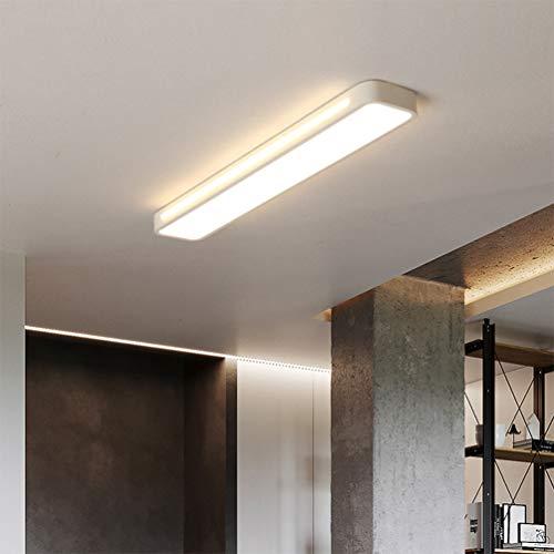 Rechteckige Leuchte (LED 15w Deckenleuchte Flurlampe Schlafzimmerlampe Deckenlampe Wohnzimmer Kronleuchter, Rechteckig Design Acryl Lampeschirm Metall für Esszimmer Bad Küche Deko Decken Leuchten (3000K, L48*W12*H4cm))