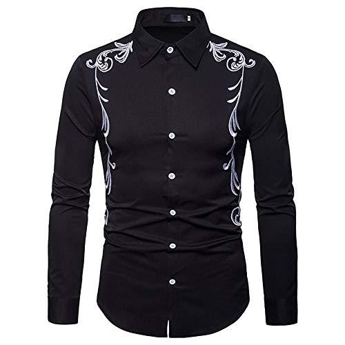 Doublehero Männer Mode Elegant Stickerei Hemd Business Stehkragen Bluse, Herbst Slim Fit Freizeithemd übergangs T-Shirt Einfarbig Partyhemd Top Bluse
