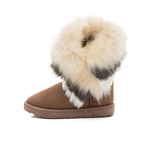 Botas Mujer,Ouneed ® Moda Mujer Botas de nieve Botas de piel Caliente zapatos de nieve (39, Amarillo)