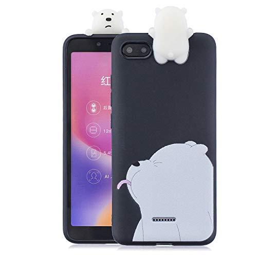Ostop Weich Flüssig Silikon Hülle für Xiaomi Redmi 6A,Karikatur 3D Schön Tier Männer Jungen Handyhülle,Stoßdämpfung Slim Schwarz Schutzhülle für Xiaomi Redmi 6A,Schnee Weiß Eisbär Muster