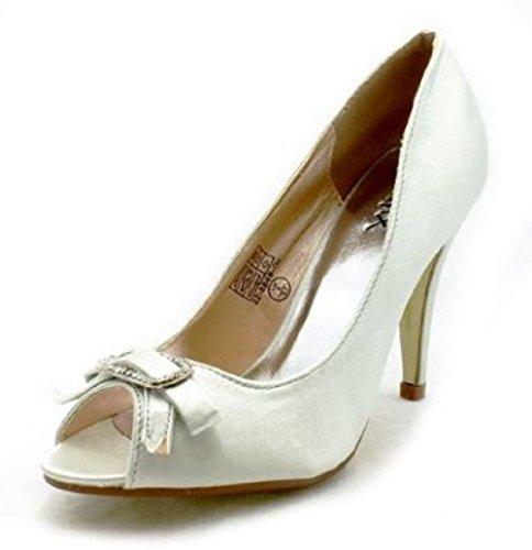 Mesdames satin peep toe judiciaires chaussures de strass arc Argent