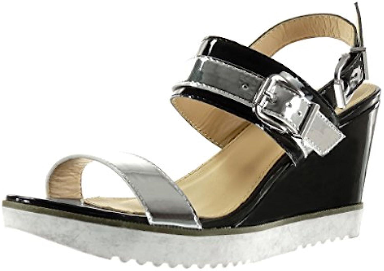 Angkorly Women's Fashion Women's 12125 - Shoes Sandals Mules - Sneaker Sole  - Ankle Strap - Shiny - Buckle Wedge Platform 9 cm B071R86YN7 Parent 6f4b48e
