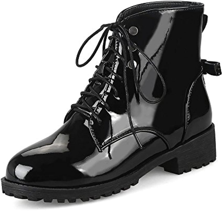 Donna Stivaletti Bassa Metà Block Heel Pelle Verniciata Stile Militare Allacciare Moda Festa Ufficio Stivali | Il Nuovo Prodotto  | Uomo/Donne Scarpa