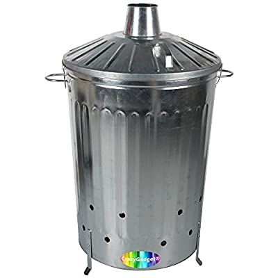 Crazygadget 125 Litre 125l Extra Large Galvanised Metal Incinerator Fire Burning Bin With Special Locking Lid Free Ash Shovel by CrazyGadget®