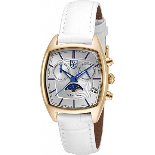 S Coifman SC0328 Ladies White Leather Chronograph Watch