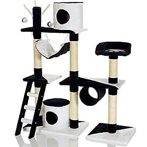 LCP Arbre à chat griffoir PARU XL 130 cm - Noir Blanc