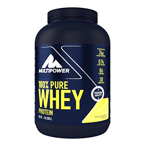 Multipower 100% Pure Whey Protein - wasserlösliches Proteinpulver mit Banane Mango Geschmack - Eiweißpulver mit Whey Isolate als Hauptquelle - Vitamin B6 und hohem BCAA-Anteil - 900 g