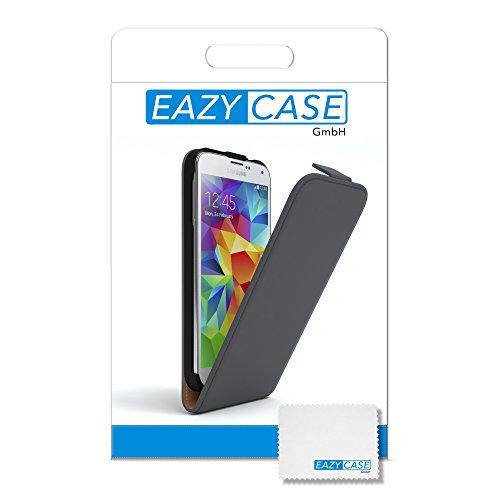 Samsung Galaxy S5 / S5 Neo Hülle - EAZY CASE Premium Flip Case Handyhülle - Schutzhülle aus Leder zum Aufklappen in Hellgrau Anthrazit