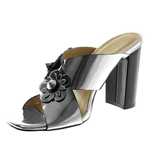 Tallone Modo Dipinte Argento Mulo Blocco Sandalo Scarpa Slip Costellato Di 5 on Angkorly Fiori Donne 10 Centimetri qwaR4Bnt