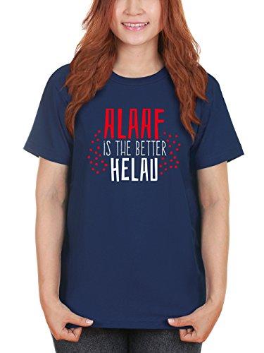 clothinx Damen T-Shirt Karneval Alaaf is The Better Helau Navy mit rot/weißer Schrift