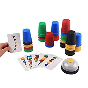 deAO Copas Locas Juego de Vasos para Apilar con Rapidez Agilidad y Destreza Juego de Mesa para la Familia