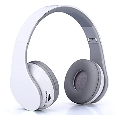 Kimfoxes Wireless Bluetooth Headphones Stereo Earbud Foldable Active Noise Cancelling Headset with Buit-in Mic Volume Control for Calling Sporting and Other Bluetooth Devices(White)