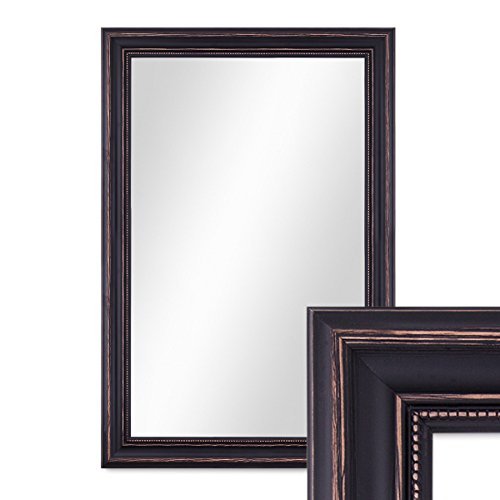 PHOTOLINI Wand-Spiegel 50x70 cm im Massivholz-Rahmen Landhaus-Stil Dunkelbraun/Spiegelfläche 40x60 cm