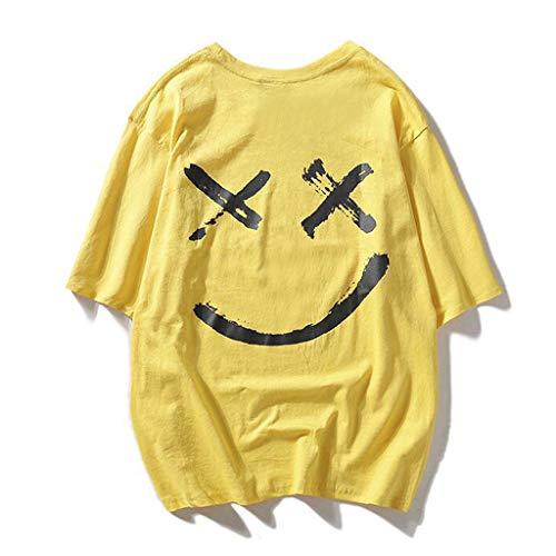 SANFASHION Herren T-Shirt Sommer New Evil Smile Gesicht Fedruckt Tops Rundhals Komfortable Figurbetont Tankshirt