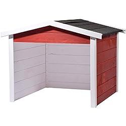 Garaje de madera, 87x 80x 70cm, blanco y rojo de antracita